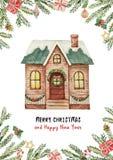 Поздравительная открытка вектора акварели с домом рождества, елевыми ветвями и подарками Стоковая Фотография RF