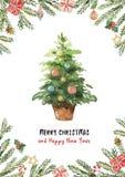 Поздравительная открытка вектора акварели с рождественской елкой, елевыми ветвями и подарками Стоковые Изображения