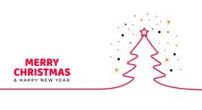Поздравительная открытка вектора дизайна Minimalistic для рождества Текст веселого рождества смелый с силуэтом дерева, снега и зв бесплатная иллюстрация