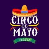 Поздравительная открытка вектора Cinco de mayo с традиционными мексиканскими элементами sombrero и эффектной демонстрации 5 могут иллюстрация штока