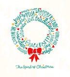 Поздравительная открытка венка праздника с воодушевлять рукописные слова иллюстрация штока