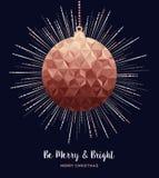 Поздравительная открытка веселого рождества медная роскошная бесплатная иллюстрация
