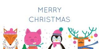 Поздравительная открытка веселого рождества с милыми животными: свинья, пингвин иллюстрация вектора