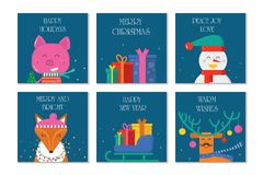 Поздравительная открытка веселого рождества 6 с милыми животными: свинья, северный олень иллюстрация вектора