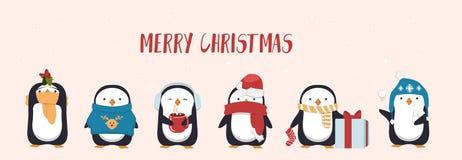 Поздравительная открытка веселого рождества с милым пингвином Сезонные пингвины характера нося шляпы, шарф и держа подарки и круж иллюстрация вектора
