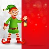 Поздравительная открытка веселого рождества с милым эльфом мультфильма иллюстрация штока