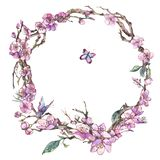 Поздравительная открытка весны акварели, винтажная флористическая круглая рамка с иллюстрация вектора