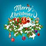 Поздравительная открытка гирлянды рождества с подарком Нового Года бесплатная иллюстрация
