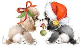 Поздравительная открытка года собаки милая иллюстрация акварели щенка Стоковая Фотография RF