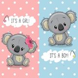 Поздравительная открытка детского душа с коалами мальчиком и девушкой иллюстрация вектора