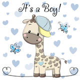Поздравительная открытка детского душа с милым мальчиком жирафа иллюстрация штока