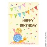 Поздравительная открытка для детей с днем рождения Смешная улитка и красочные праздничные знамена Утеха, счастье, дети иллюстрация вектора