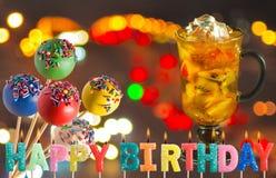 Поздравительная открытка для крупного плана дня рождения Стоковое Фото