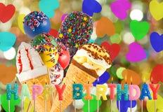 Поздравительная открытка для крупного плана дня рождения Стоковое Изображение RF