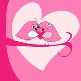Поздравительная открытка дня Валентайн с розовыми птицами иллюстрация вектора