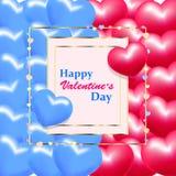 Поздравительная открытка дня Валентайн с сердцами иллюстрация вектора