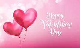 Поздравительная открытка дня валентинок воздушного шара сердца валентинки красного на розовой светлой предпосылке блеска Lette те Стоковое Фото