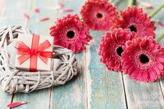 Поздравительная открытка дня матери или женщины с подарком или присутствующим и плетеным сердцем украсила красивые цветки маргари Стоковое Изображение