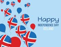 Поздравительная открытка Дня независимости Исландии Плоские воздушные шары летая в национальных цветах Исландии Стоковое Изображение