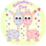 Поздравительная открытка дня Святого Валентина с жирафами E иллюстрация штока