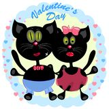 Поздравительная открытка дня Святого Валентина с котами E бесплатная иллюстрация