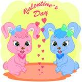 Поздравительная открытка дня Святого Валентина с маленькими кроликами бесплатная иллюстрация