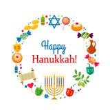 Поздравительная открытка или знамя для фестиваля огней Chanukah иллюстрация вектора