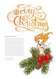 Поздравительная открытка или объявление шаблона вертикальные с ветвью ели, свечой, смычком и счастливого рождествами надписи иллюстрация штока
