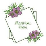 Поздравительная открытка иллюстрации вектора благодарит вас мама для различных абстрактных пурпурных рамок венка иллюстрация штока