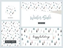 Поздравительная открытка ландшафта зимы рождества и комплект знамени белизна покупкы сбывания девушки рождества предпосылки счаст иллюстрация вектора