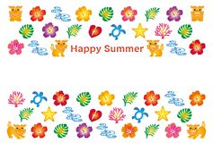 Поздравительная открытка лета с значками Bingata японца Стоковое фото RF