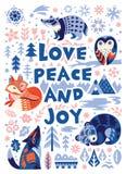 Поздравительная открытка любов, мира и утехи Характеры полесья в скандинавском стиле также вектор иллюстрации притяжки corel иллюстрация штока