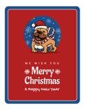 Поздравительная открытка мы желаем вам рождество женить и счастливый Новый Год, смешной английский бульдога иллюстрация вектора