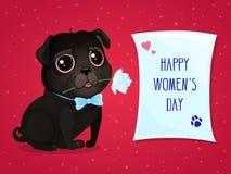 Поздравительная открытка на день ` s женщин с милым черным мопсом Стоковые Фото