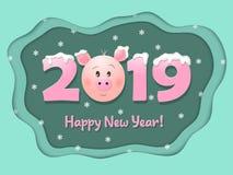 Поздравительная открытка на 2019 счастливое Новый Год также вектор иллюстрации притяжки corel иллюстрация штока