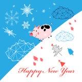 Поздравительная открытка Нового Года вектора с поросенком иллюстрация штока