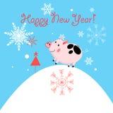 Поздравительная открытка Нового Года вектора с поросенком бесплатная иллюстрация