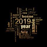 Поздравительная открытка 2019 Нового Года Многоязычное облако слова, золотые письма на черноте стоковое изображение