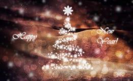 Поздравительная открытка Нового Года с сосной Стоковая Фотография RF