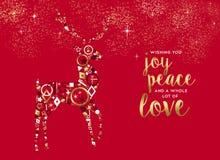 Поздравительная открытка оленей с Рождеством Христовым золота роскошная бесплатная иллюстрация