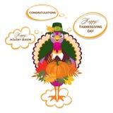 Поздравительная открытка официальный праздник в США в память первых колонистов Массачусетса с милым счастливым шаржем птицы индюк Стоковые Фото
