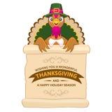 Поздравительная открытка официальный праздник в США в память первых колонистов Массачусетса с милым счастливым шаржем птицы индюк Стоковая Фотография
