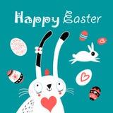 Поздравительная открытка пасхи приветствию с яичками и кроликами Стоковые Фотографии RF