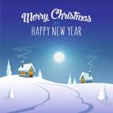 Поздравительная открытка плаката с Рождеством Христовым и счастливая Нового Года - лунный свет зимы на деревне бесплатная иллюстрация