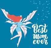 Поздравительная открытка праздника мамы цитаты самая лучшая всегда превосходная Иллюстрация вектора на День матери Современные ли бесплатная иллюстрация
