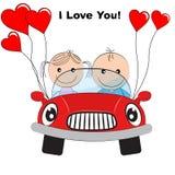 Поздравительная открытка при девушка и мальчик симпатичных пар молодая милая путешествуя красным автомобилем иллюстрация вектора