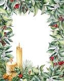 Поздравительная открытка рождества акварели с свечами Стоковое Изображение RF