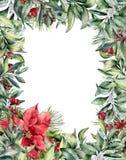 Поздравительная открытка рождества акварели Стоковая Фотография RF