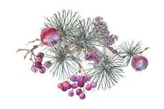 Поздравительная открытка рождества винтажная флористическая, украшение Нового Года с иллюстрация штока