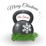 Поздравительная открытка рождества и Нового Года с kettlebell и сосной разветвляет Стоковое фото RF